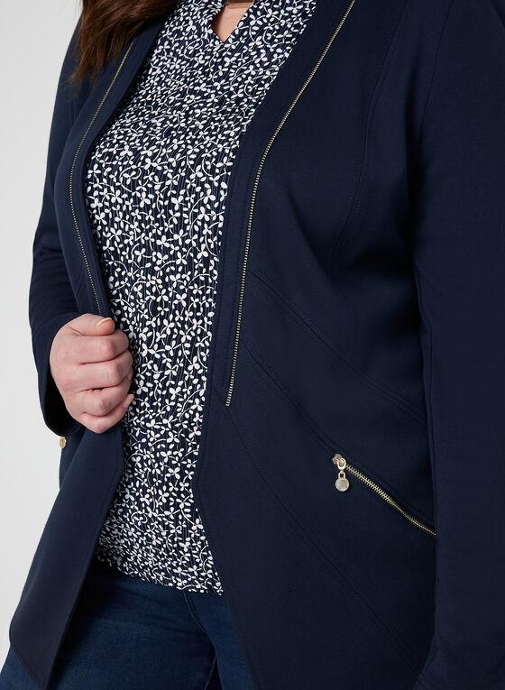 Vex - Veste ouverte à détails zippés, Bleu, hi-res