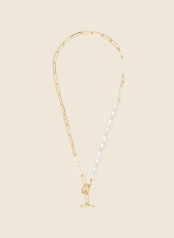 Pearl Detail Toggle Closure Necklace, Off White,  jewellery, accessories, oval link, pearl, toggle, spring summer 2021
