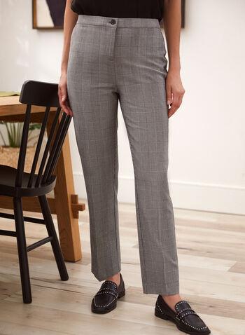 Pantalon droit motif tartan, Noir,  pantalon, droit, pinces, tartan, automne hiver 2020