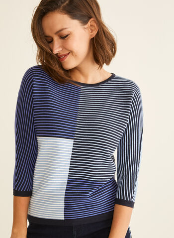 Striped Colour Block Sweater, Blue,  sweater, knit, 3/4 sleeves, dolman sleeves, colour block, stripes, spring 2020