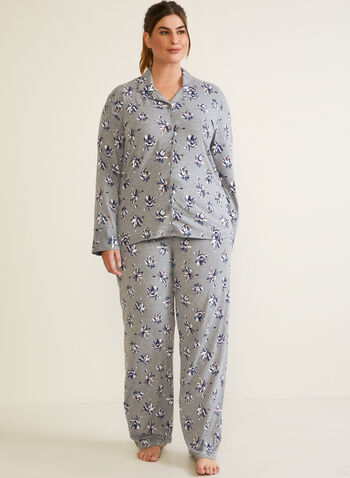 Floral Print Pyjama Set, Grey,  fall winter 2020, pyjama set