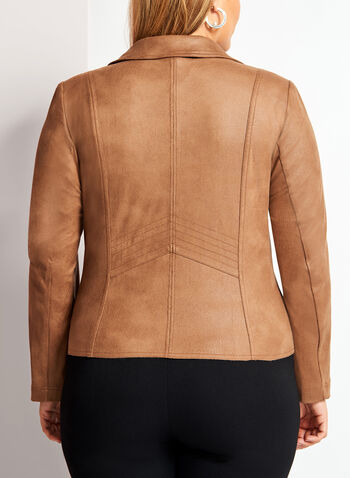 Faux Suede Jacket, Brown, hi-res