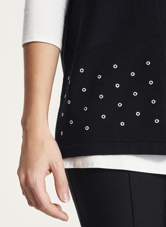 Cardigan sans manches tricoté à œillets métalliques, Noir, hi-res