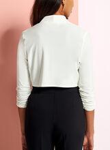3/4 Sleeve Shirred Bolero, Off White, hi-res