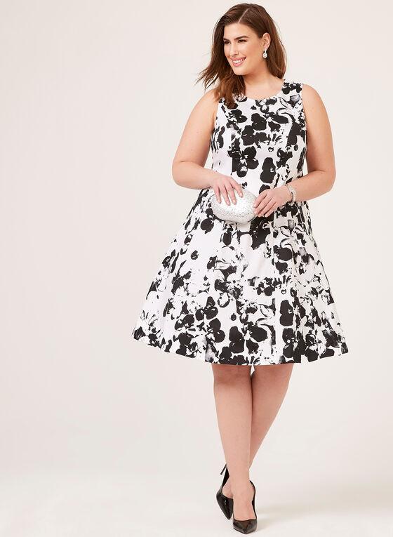 f3f05b2de181 ... Floral Print Fit & Flare Dress, White, ...