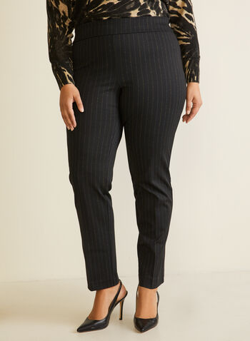 Straight Leg Pull-On Pants, Black,  fall winter 2020, pants, pull-on, elastic waist, straight leg, striped, ponte di roma