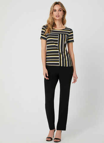Stripe Print Jersey Top, Blue, hi-res,  short sleeves, scoop neck, fall 2019, winter 2019,