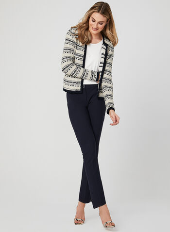 Open Front Tweed Cardigan, Blue, hi-res