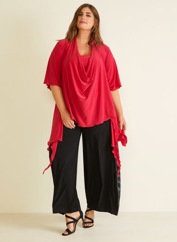 Joseph Ribkoff - Cowl Neck Ruffle Detail Top, Pink,  top, cowl neck, drape, ruffle, elbow sleeves, jersey, spring summer 2020