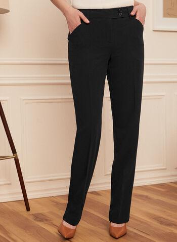 Louben - Pantalon à jambe droite , Bleu,  Fait au Canada, printemps été 2021, pantalon, jambe droite, louben, tailleur, moderne, ajusté, ganses, poches, pinces
