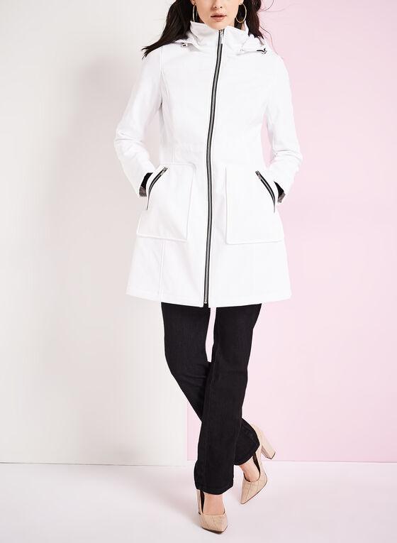 Embossed Anorak Coat, White, hi-res