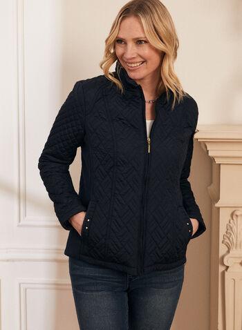 Weatherproof - Diamond Quilt Coat, Blue,  coat, spring coat, zipper, long sleeves, quilt coat, quilted coat, spring 2020, summer 2020, weatherproof