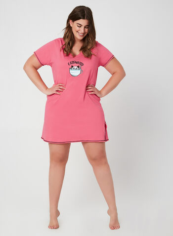 René Rofé - Appliqué Nightgown, Pink, hi-res,  fall winter 2019, cotton, short sleeves