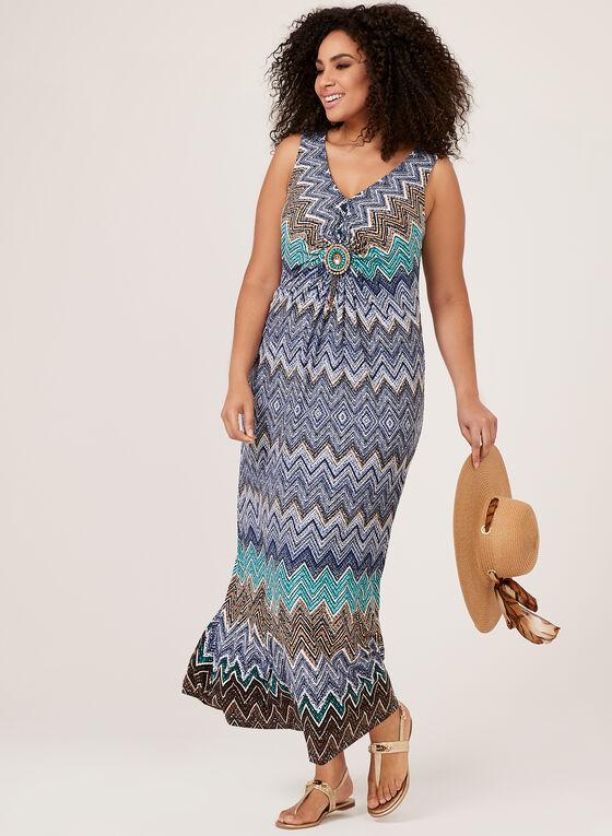 Chevron Print Maxi Dress, Blue