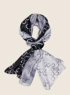 Foulard léger oblong motif anneaux, Noir