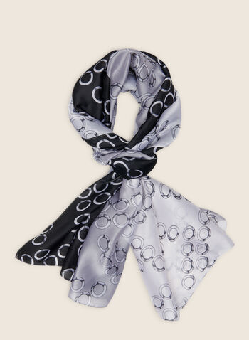 Circle Motif Lightweight Scarf, Black,  scarf, lightweight, oblong, two-tone, silky, zigzag, circle, spring summer 2020