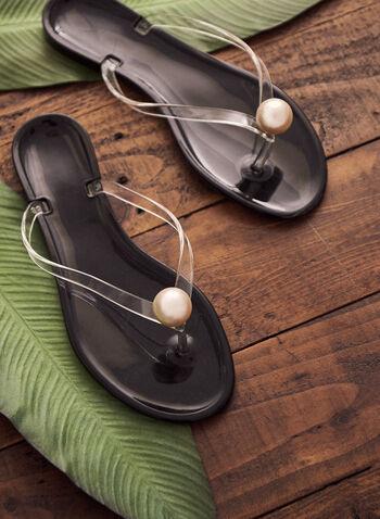 Pearl Detail Flip-Flops, Black,  spring summer 2021, flip flop, sandals, accessory, accessories, bead, stone