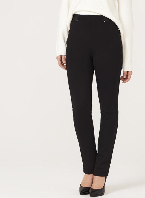 Straight Leg Pull On Pants, Black, hi-res