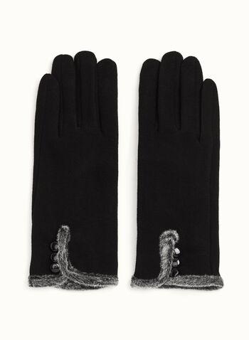 Fur Trim Knit Gloves, , hi-res