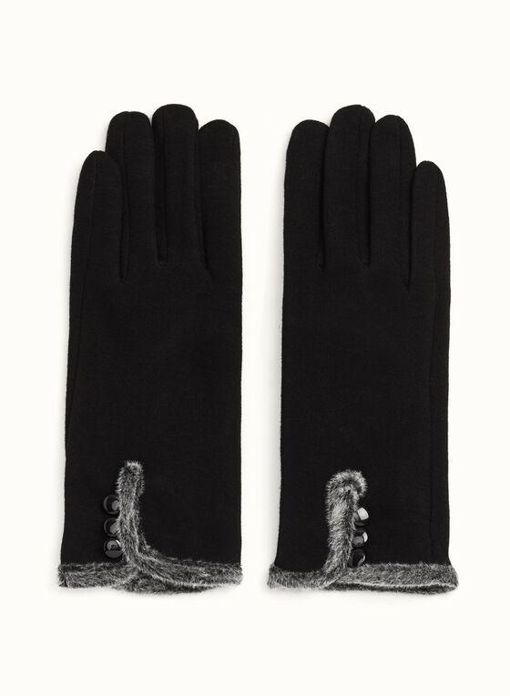 Fur Trim Knit Gloves, Black, hi-res