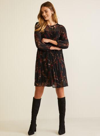 Robe à motif floral en mousseline, Noir,  automne hiver 2020, robe, mousseline, manches longues, manches bouffantes, plis, plissé, motif, fleurs, fleuri, floral