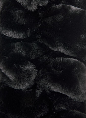 Pleated Faux Fur Scarf, Black,  fall winter 2020, scarf, pleated, faux fur, crossover, pull through