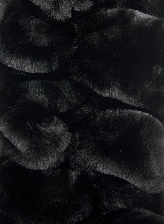 Pleated Faux Fur Scarf, Black