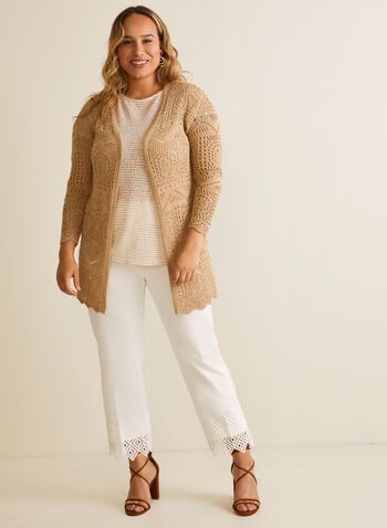 Long Open Front Crochet Cardigan, Off White,  cardigan, open front, knit, crochet, long sleeves, scalloped, spring summer 2020