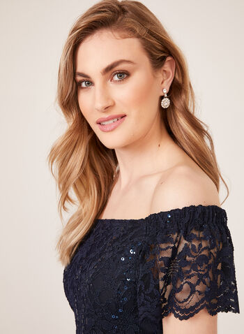 Sequin Lace Off The Shoulder Dress, Blue, hi-res