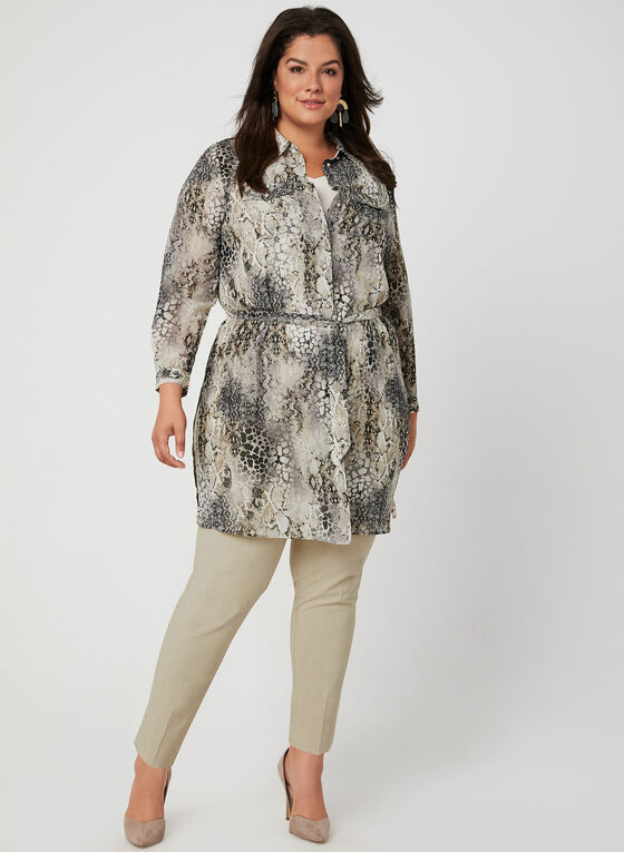 Belted Tunic Blouse, Brown, hi-res