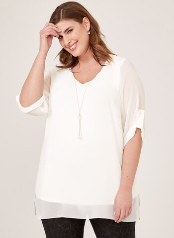 Necklace Detail Crepe Tunic, Off White, hi-res
