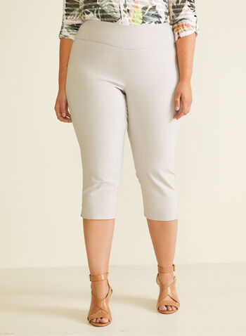 Bengaline Pull-On Capri Pants, Grey,  capris, pull-on, bengaline, slim leg, spring summer 2020