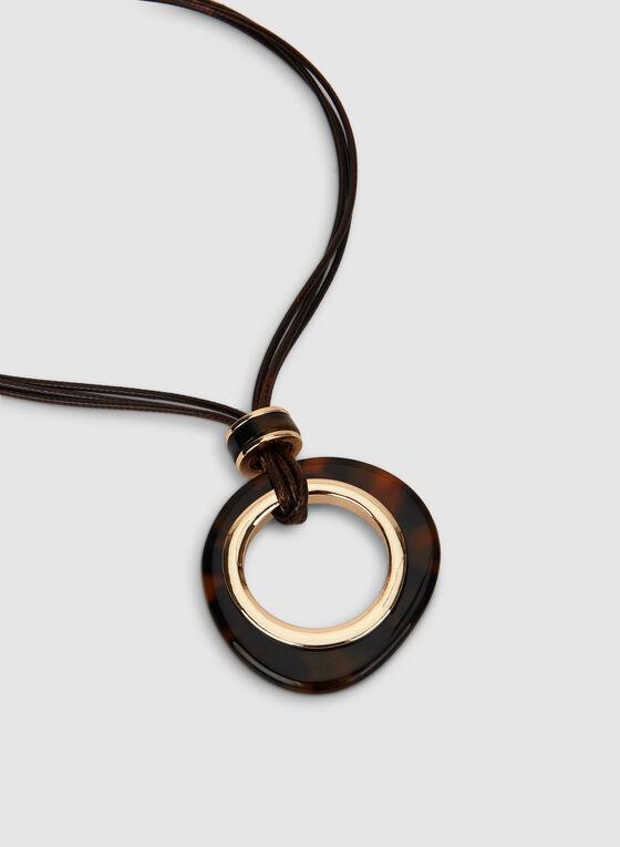 Collier à cordes multiples et anneau, Brun, hi-res