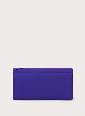 Side Drape Satin Clutch, Blue, hi-res