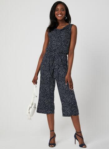 Emma & Michele - Dot Print Jumpsuit, Blue, hi-res,  jersey, sleeveless, belted, cowl neck, wide leg, cropped, summer 2019