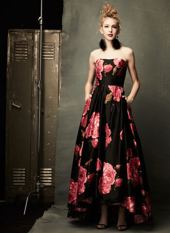 Rose Print High-Low Gown, Black, hi-res