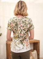 T-shirt fleuri à manches courtes, Vert
