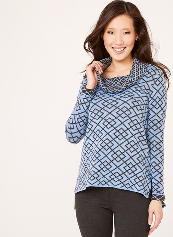 Geometric Print Cowl Neck Sweater, Blue, hi-res