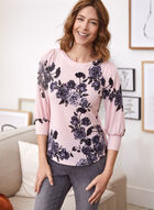 Floral 3/4 Sleeve Knit Top, Pink