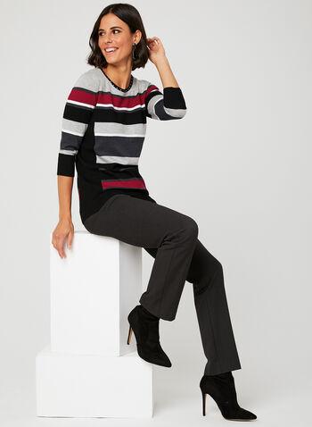 Studded Crew Neck Knit Sweater, Black, hi-res