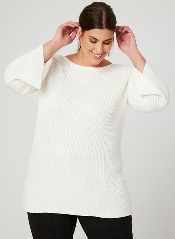Flared Sleeve Boat Neck Sweater, Off White, hi-res