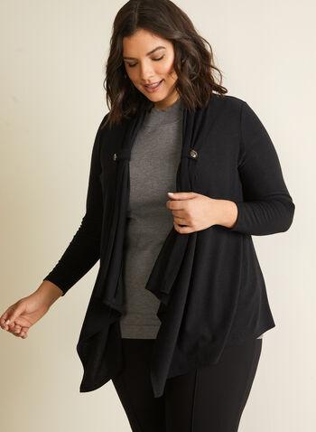 Veste ouverte en tricot, Noir,  Fait au Canada, haut, par-dessus, coupe ouverte, automne 2020, hiver 2021, manches 3/4,