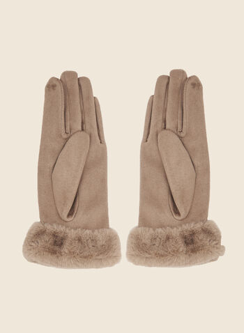 Bow Detail Faux Suede Gloves, Brown,  fall winter 2020, faux suede, faux fur, bow detail, vegan