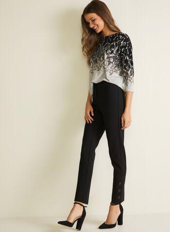 Pantalon coupe signature à jambe étroite, Noir,  pantalon, signature, étroit, boutons, automne hiver 2020