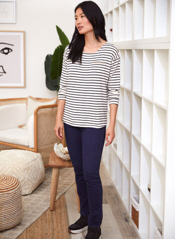 Stripe Print Rhinestone Detail Top, White,  fall 2021, top, shirt, tee, blouse, long sleeves, boat neckline, stripe, pattern, print, rhinestone, faux pocket, fake pocket, two tone, extended shoulder