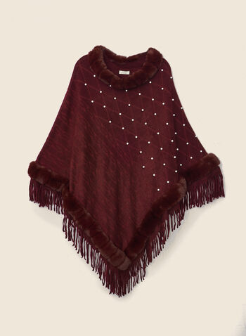 Pearl & Faux Fur Poncho, Red,  poncho, faux fur, fringe, pearls, fall winter 2020