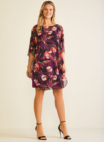 Floral Print Chiffon Poncho Dress, Purple,  cocktail dress, poncho, chiffon, floral, fall winter 2020