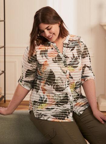 T-shirt boutonné motif tropical et rayures, Vert,  t-shirt, haut, rayé, tropical, boutons, manches 3/4, coton, printemps été 2020