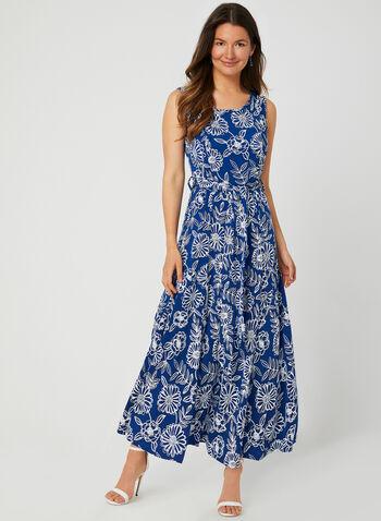 Nina Leonard - Robe fleurie texturée , Bleu, hi-res,  robe de jour, fleurs, texturé, sans manches, col dégagé, ceinture, printemps été 2019