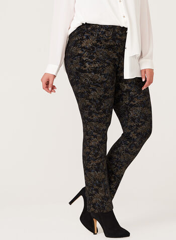 Metallic Floral Print Pull-On Pants, Black, hi-res